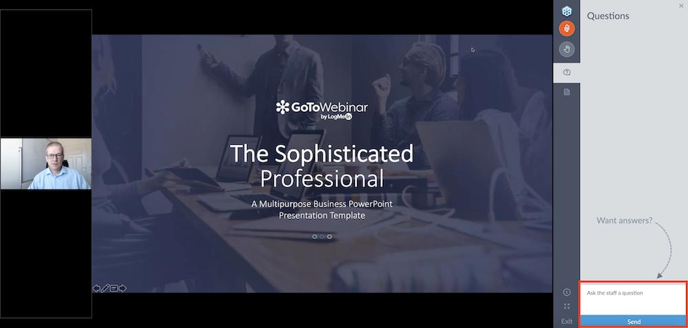 GoToWebinar-webcast kysymysten esittäminen