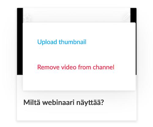 GoToStage videon asetukset