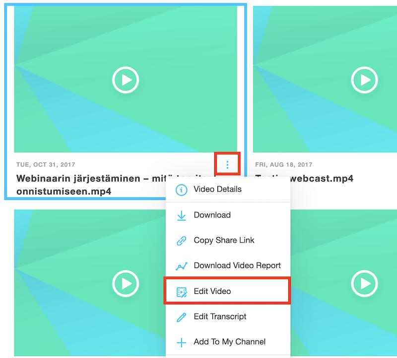 GoToWebinar aloita videon editointi