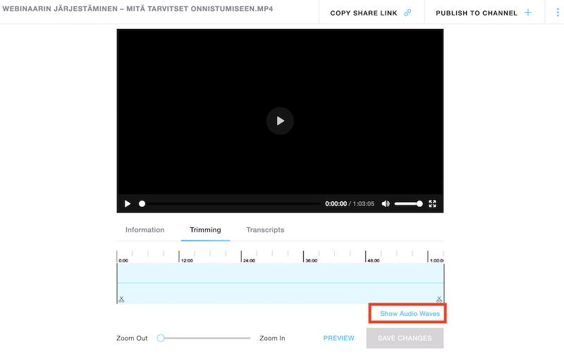Webinaarin videotallenteen editointi
