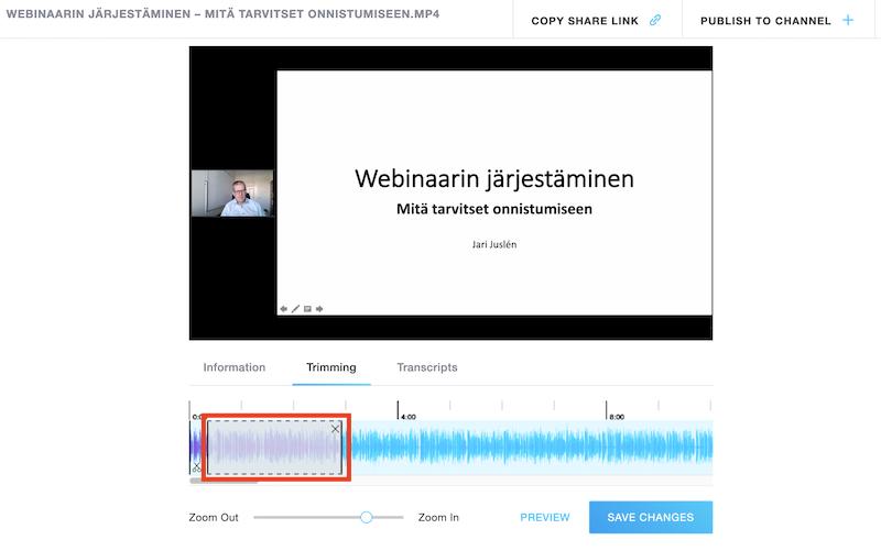 GoToWebinar-videoeditori videon trimmaus