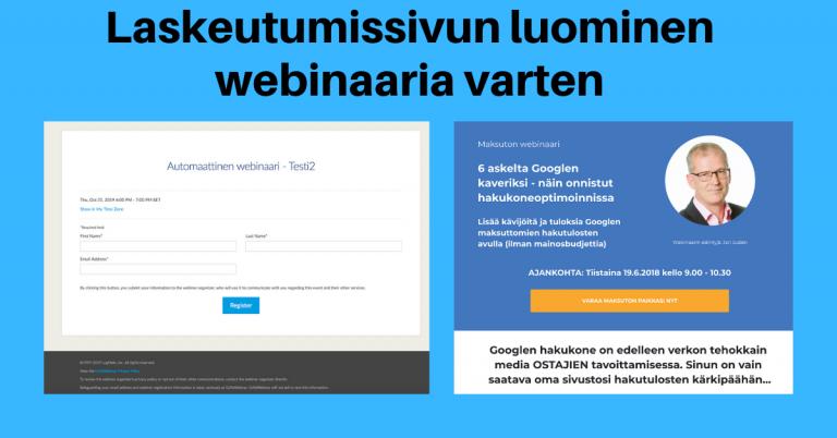 Laskeutumissivun luominen webinaaria varten